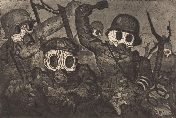 Assaut sous les gaz - Aquatinte d'Otto Dix - 1924