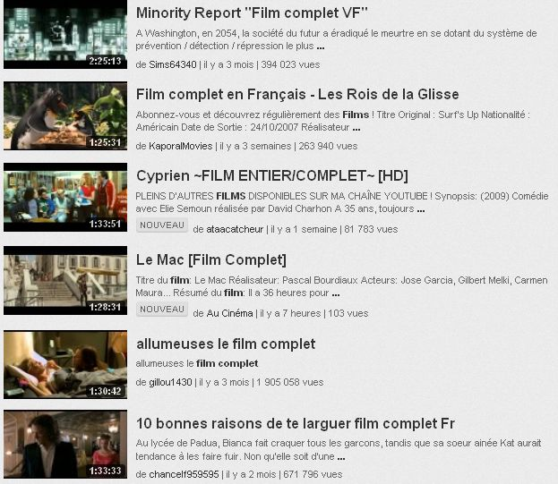 Des centaines de films sont disponibles dans leur intégralité