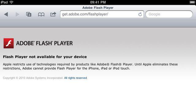 Apple n'a jamais autorisé Flash sur ses appareils mobiles