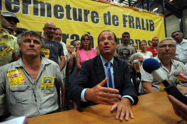 François Hollande était candidat à la primaire du PS quand il a visité le site Fralib à Gémenos le 22 août 2011
