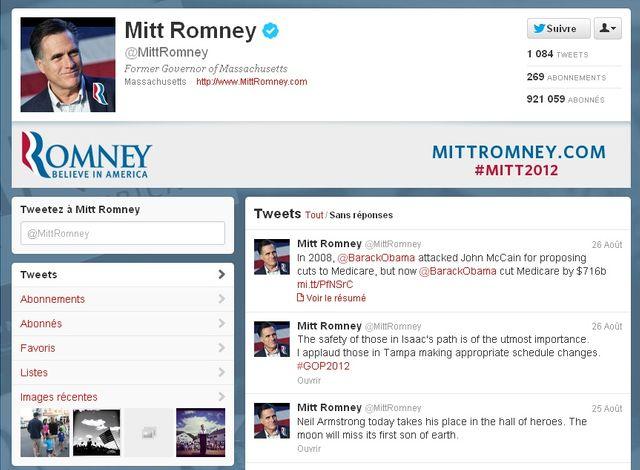 La page Twitter de Mitt Romney