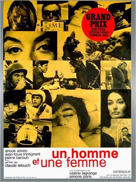 """Affiche d' """" Un homme et une femme"""" de Claude Lelouch"""