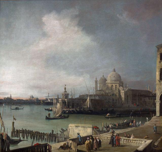 Canaletto - L'Embouchure du Grand Canal, et  vue de l'extrémité occidental du Môle - 1722