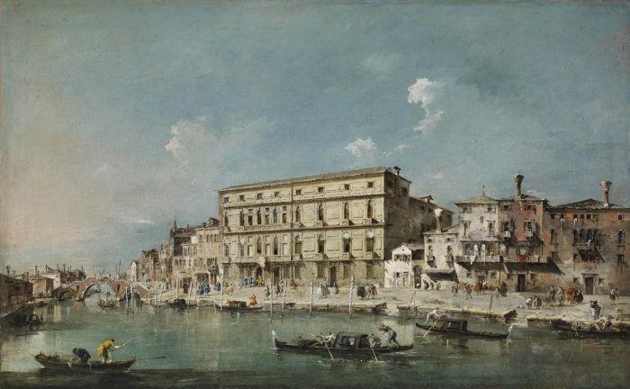 Le Canale di Cannaregio avec le Palazzo Surian-Bellotto, l'ambassade de France, huile sur toile