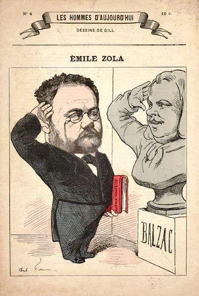 Zola, les Rougon-Macquart sous le bras, rend hommage à son modèle, Balzac