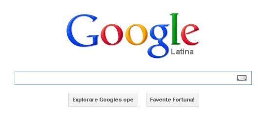 La page d'accueil de Google, en Latin