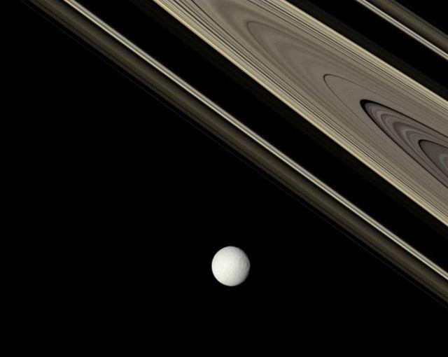 Tethys et les anneaux de Saturne