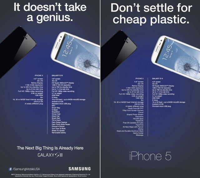 A gauche, la publicité de Samsung. A droite, celle détournée par les fans d'Apple.