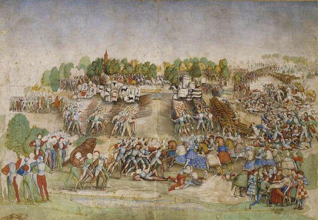 La bataille de Marignan (miniature sur parchemin)