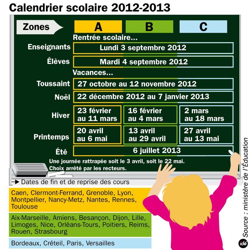 Le calendrier scolaire 2012-2013