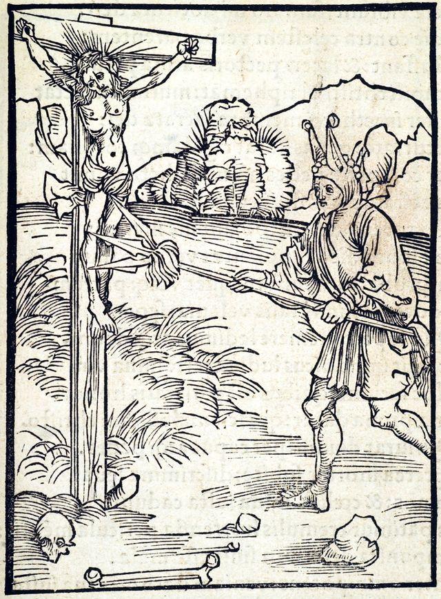 """Le blasphème - Illustration du livre """"La Nef des fous"""" de Sébastien Brant - 1494"""