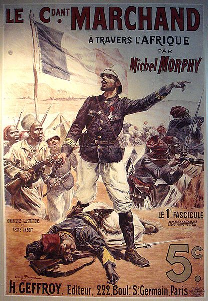 Illustration d'époque relatant l'expédition Marchand à travers l'Afrique.