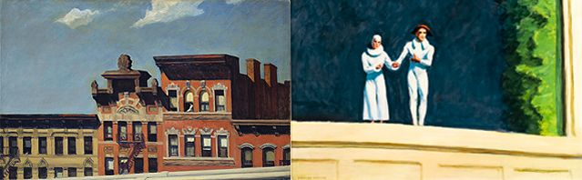 Edward Hopper - From Williamsburg Bridge 1928  / Two Comedians 1966