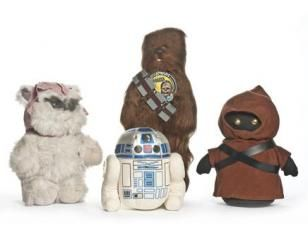 Peluches Chewbacca, Princesse Kneesaa, R2D2et Jawa, de 1978 à 1983, Kenner fabricant, collection Science fiction archives.com