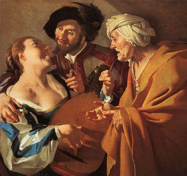 Prostitution : L'entremetteuse, Dirck van Baburen, 1622.