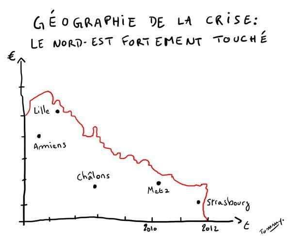 La géographie de la crise - Le Nord Est fortement touché