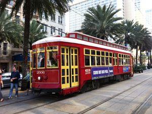 Tramway dans une rue de la Nouvelle-Orléans