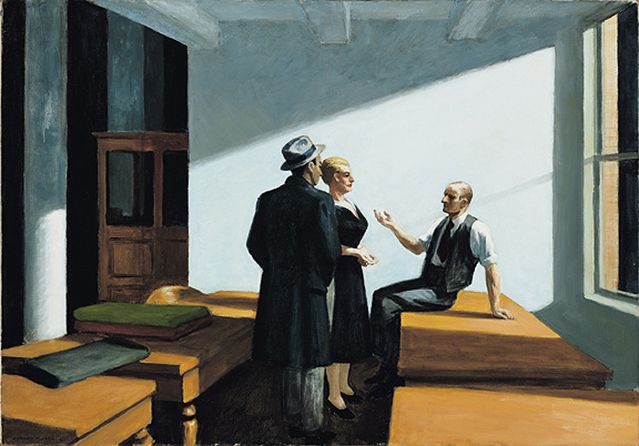 Edward Hopper Conference at night 1949 Huile sur toile, 71,75 x 102,4 cm Wichita Art Museum, Roland P. Murdock Collection