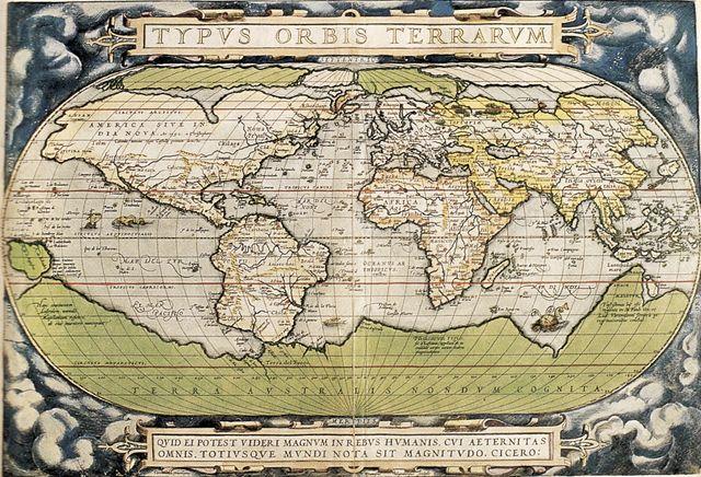 """Atlas """"Typus Orbis Terrarum"""" par Abraham Ortelius en 1570"""