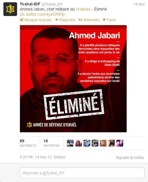 Capture d'écran du compte @Tsahal_IDF le 14 novembre