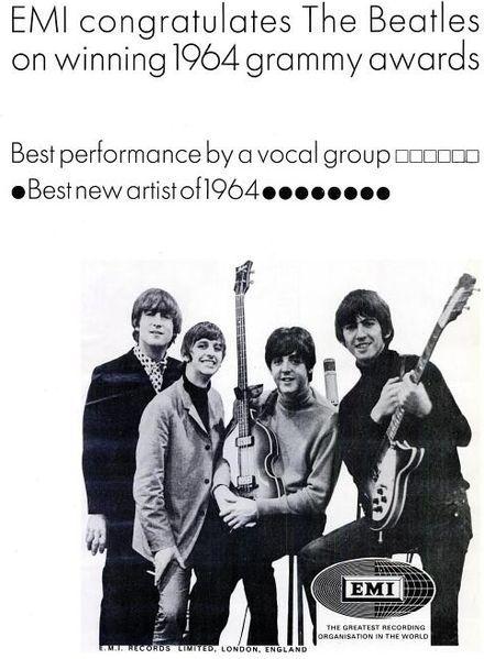 Emi félicite les Beatles en 1965