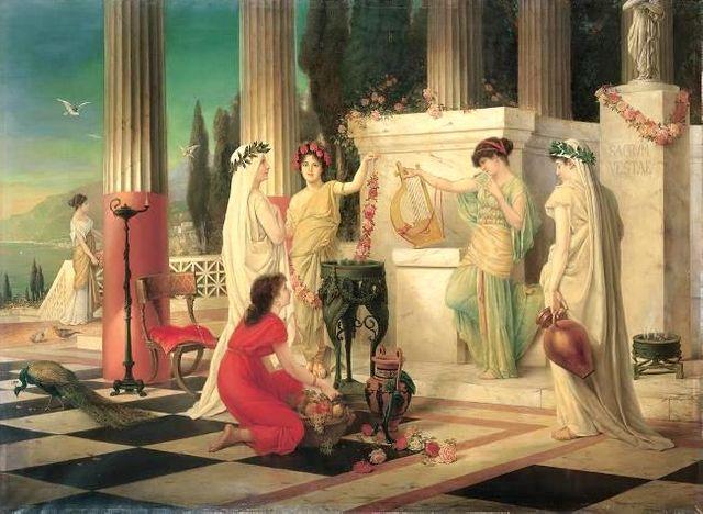 Dans le temple de Vesta - Peinture de Constantin Hölscher - 1902