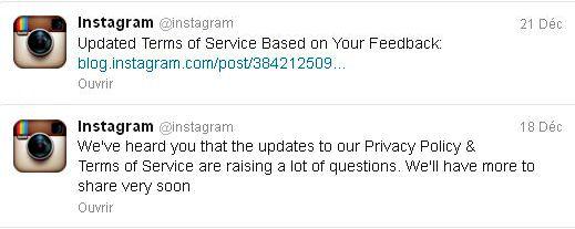 Quelques uns des tweets d'Instagram