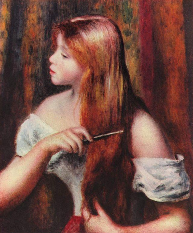 Jeune fille coiffant ses cheveux.  Auguste Renoir
