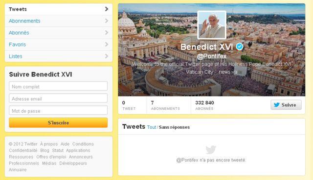 La page Twitter du Pape est déjà disponible