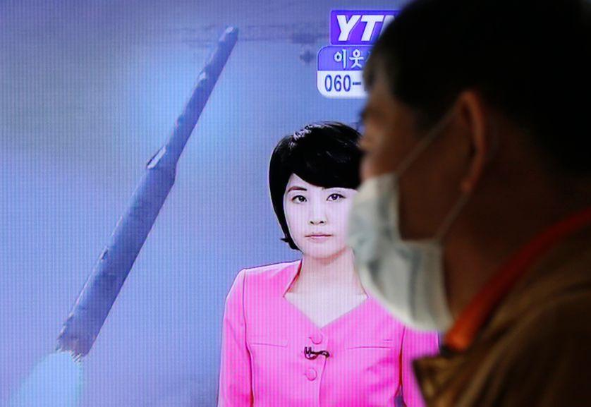 Télévsion Sud Corée montrant les images du missil lancé vers le Japon