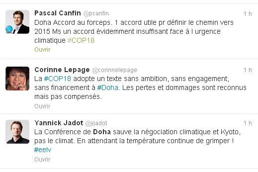 Quelques unes des réactions sur Twitter après l'accord de Doha
