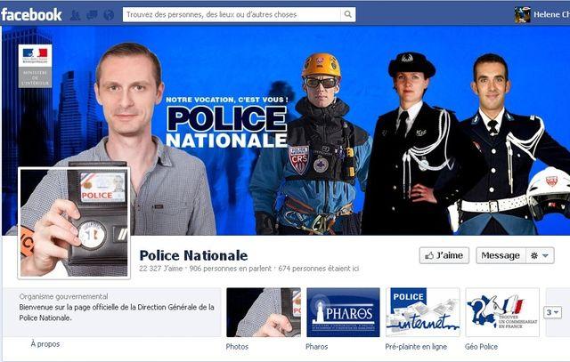 Le profil de la police nationale sur Facebook