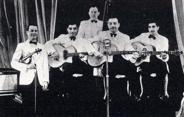 Le Quintet du Hot club de France avec Django Reinhardt et Stéphane Grappelli en 1938