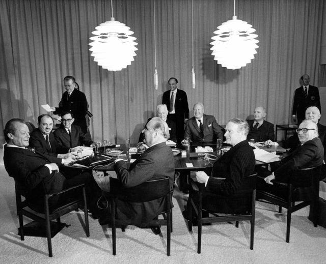 Sommet européen de Copenhague avec le Premier Ministre britannique Edward Heath - 14 décembre 1973