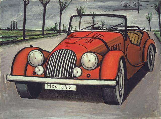 Bernard Buffet - L'automobile Morgan 1950, 1984 Huile sur toile, 97x130 cm - Courtesy Galerie
