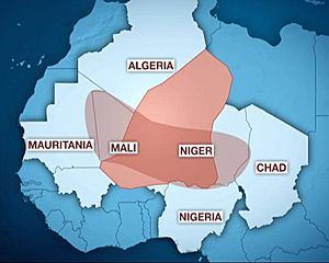 La zone d'influence d'Al-Qaïda au Maghreb islamique