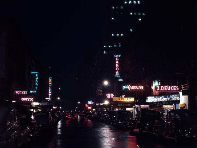 """La 52ème rue à New York,  la """"rue du Jazz"""" en juillet 1948"""