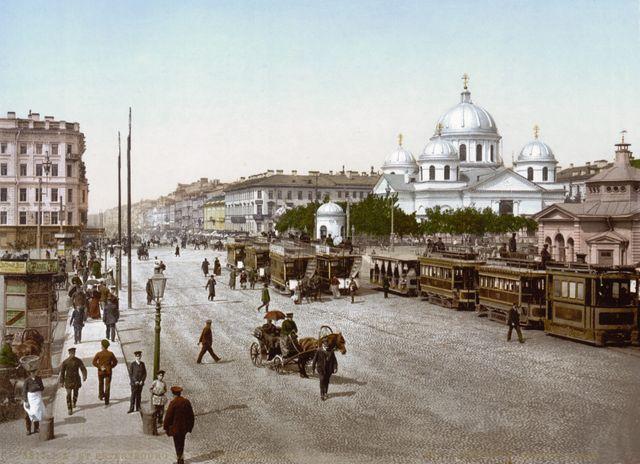 Eglise Znamenskya et la perspective Nevski percée sous le règne d'Anne à St-Pétersbourg - Photochrome entre 1890 et 1905