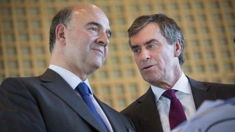 Pierre Moscovici et Jérôme Cahuzac, ministres de l'Economie et du Budget