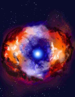 Vue d'artiste d'une étoile à neutrons -  Norbert Bartel et Michael F. Bietenholz