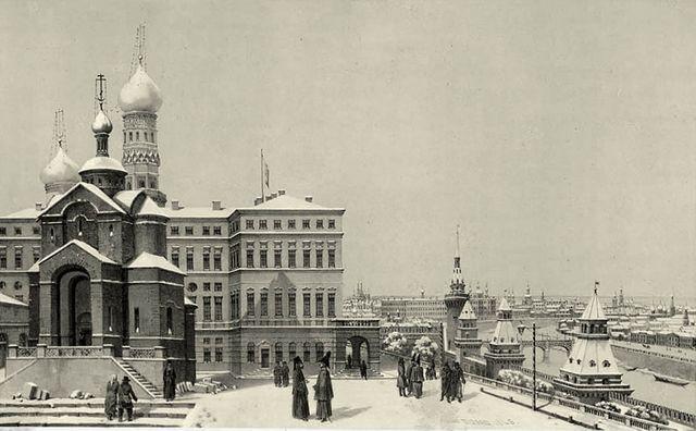 Le Palais Impérial dit de Paul I, Terrasse du Kremlin - Voyage pittoresque et archéologique en Russie n°70 - André Durand - 1839
