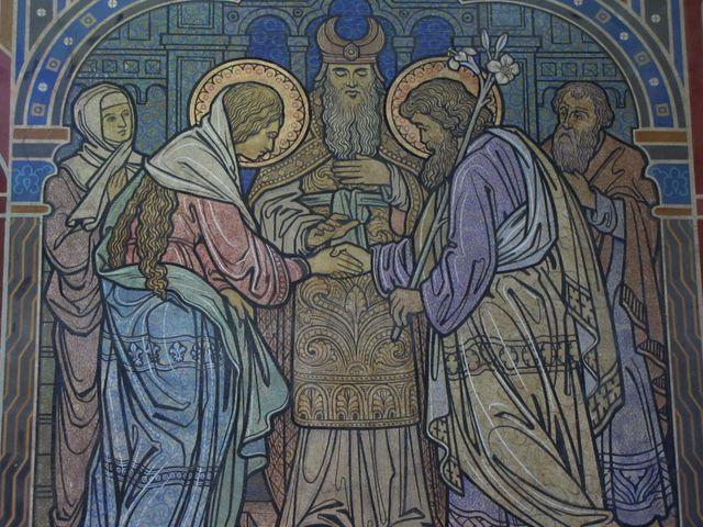 """Fresque du """"Mariage de la Vierge Marie avec Joseph""""  dans l'église Saint-Martin à Niederbronn-les-Bains"""