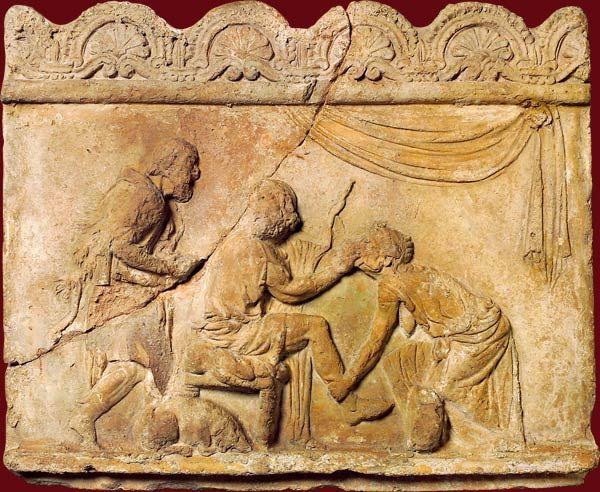 Plaque Campana : la reconnaissance d'Ulysse par Euryclée. Rome, Ier siècle
