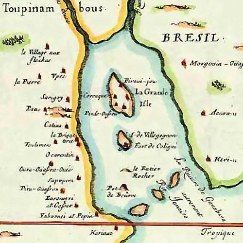 Carte française de la baie de Guanabara vers 1555 par Duval