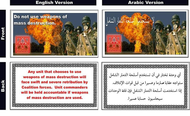 Prospectus jeté par l'aviation de la Coalition pour avertir les Irakiens de ne pas utiliser d'ADM - 24 février 2003