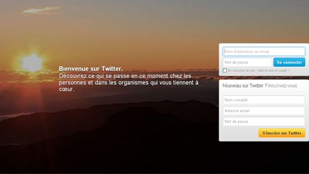 Page de connexion du site Twitter
