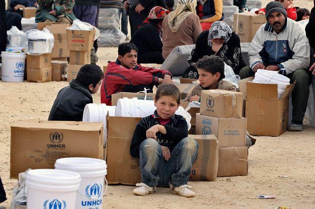 Des réfugiés en Jordanie (camp d' Al-Zaatri)