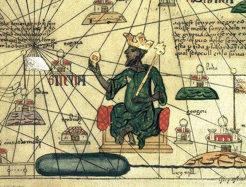 Représentation du roi du Mali Kanga Moussa - Atlas catalan du XIVe siècle par Abraham Cresques