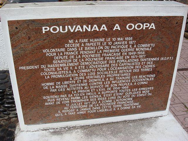 Plaque commémorative de Pouvanaa a Oopa à Tahiti - 2007