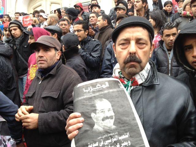 Manifestation en hommage à Chokri Bellaïd